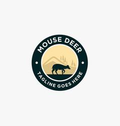 Logo mouse deer landscape vintage badge vector