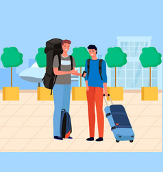 Male tourists waiting near airport with luggage vector