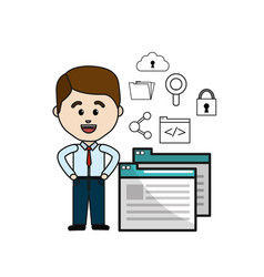 Man with digital service and technology icons vector