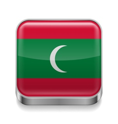 Metal icon of Maldives vector image