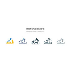 Mining work zone icon in different style two vector