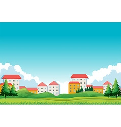 Neighborhood with houses and park vector