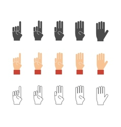 Numbers hand gesture icons vector image