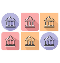 outlined icon of bank building ancient style vector image