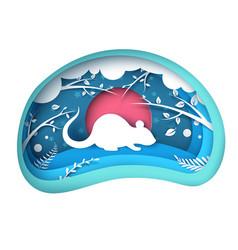 paper mouse characters cartoon paper landscape vector image