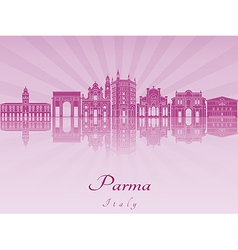 Parma skyline in purple radiant orchid vector image vector image