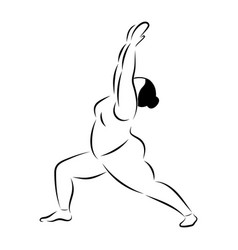 Plus size curvy flexible sporty woman doing yoga vector