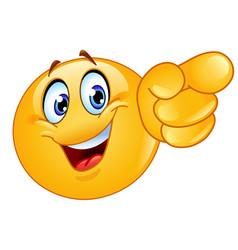 Pointing forward emoticon vector