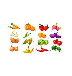 Ripe glossy coloful vegetables and fruits game vector