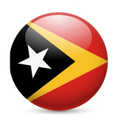Round glossy icon of east timor vector image