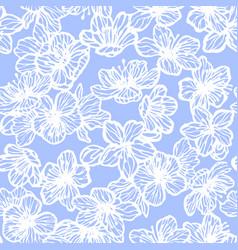 Sakura seamless pattern in hand-drawn style vector