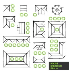 Set architectural linear sketches vector