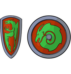 Shields and dragons vector