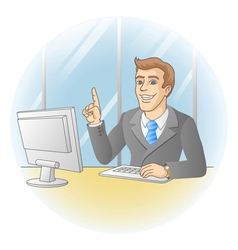 Smiling businessman pointing the finger vector