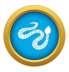 Spotted snake icon blue isolated vector