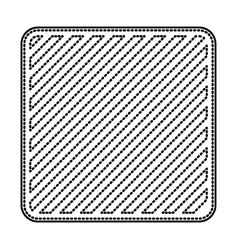 Square emblem in monochrome dotted contour and vector