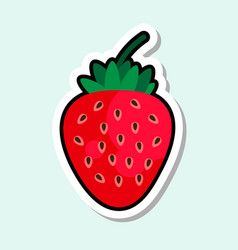 Strawberry sticker on blue background colorful vector