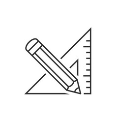 Triangle ruler and pencil vector