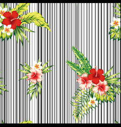 tropical flowers leaves composition seamless vector image
