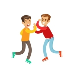 Two Equal Size Boys Fist Fight Positions vector