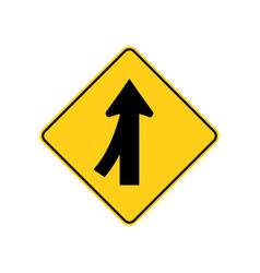 Usa traffic road signs merging traffic entering vector