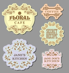 vintage retro floral label badges vector image