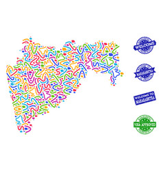 Welcome composition of mosaic map of maharashtra vector