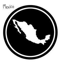 White map of mexico on black circle vector