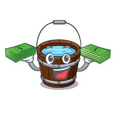 With money wooden bucket mascot cartoon vector