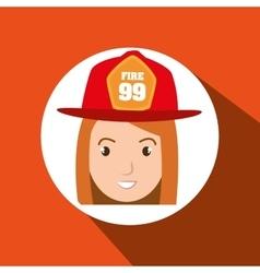 Woman firewoman helmet icon vector
