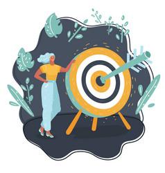 woman hits target vector image