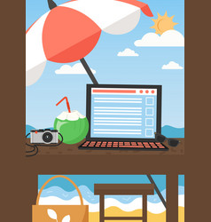 workplace on summer tropical beach flat vector image