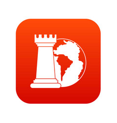 world planet and chess rook icon digital red vector image