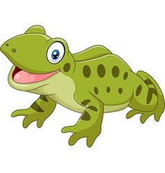 Cartoon funny frog sitting isolated vector
