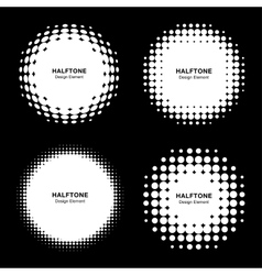 Set of Abstract White Halftone Design Elements vector image
