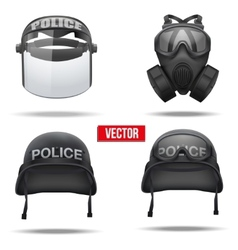 Set of Police helmets and mask vector image vector image