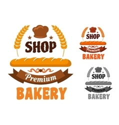 Bakery or pastry shop icon with baguette vector image