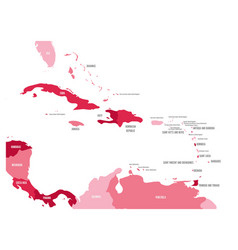 central america and caribbean states political map vector image