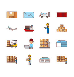 set of icons logistic delivery mail transport vector image