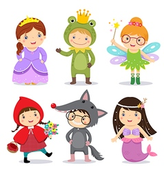 Set of kids wearing in fairy tale theme vector image vector image