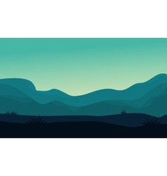 Silhouette of hill and fog scenery vector image vector image