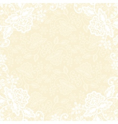 white lace on yellow background vector image vector image