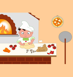 young pizza maker vector image vector image