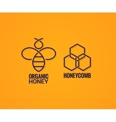 bee logo and honeycombs label on yellow background vector image