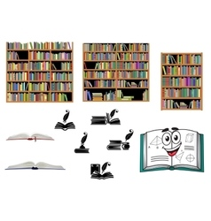 Books education and library objects vector image
