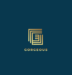 elegant line letter g abstract sign emblem vector image vector image