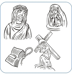 Jesus Christ and bible - vector image vector image