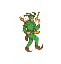 Medieval Jester Juggling Wooden Pins Drawing vector image vector image