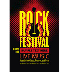 poster for a rock festival with guitar on fire vector image