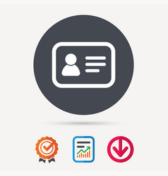 id card icon personal identification document vector image